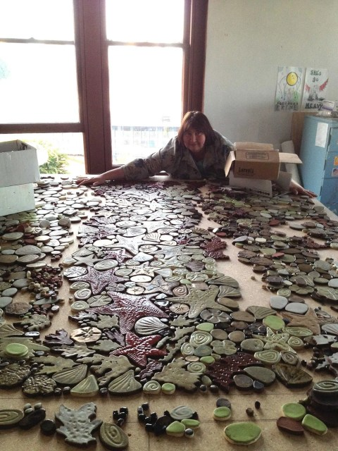Olga from Pacific Tile Wave at her studio in Tacoma