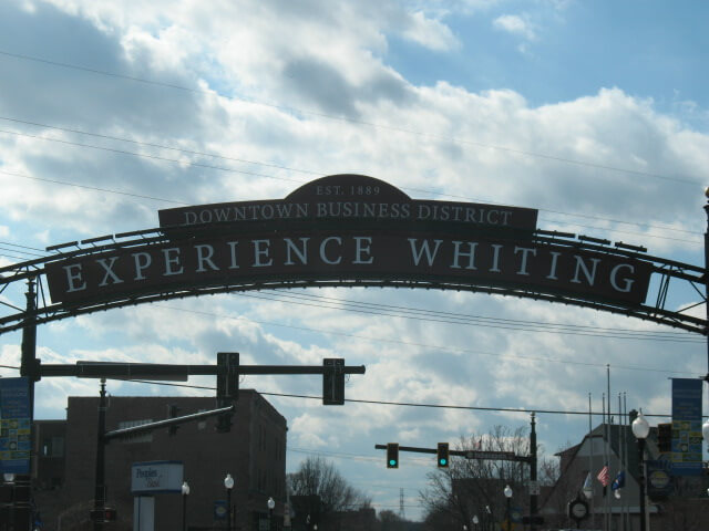 Whiting Indiana downtown sign