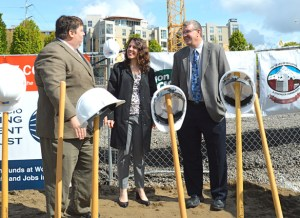 Deborah Kafoury attends groundbreaking for the union-funded Lloyd District Commons residential complex. She is pictured talking with building trades officials Willy Myers and John Mohlis.