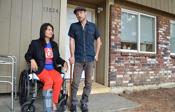 After an SUV slammed into their motorcycle in the early morning of July 5, fired phone fundraiser David Neel (right) and his fiancée Stephanie Castillo have months of recovery ahead of them. The accident prompted Neel to settle his National Labor Relations Board case against Fund for the Public Interest, the non-profit fundraiser for PIRGs, which fired him in November 2012 after he emerged as a union leader.