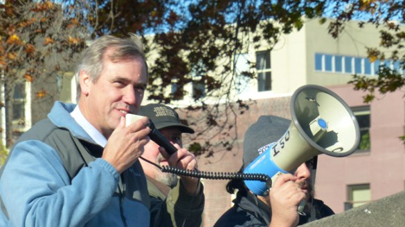 Newly re-elected U.S. Senator Jeff Merkley (D-Oregon) joined postal workers and their allies at a Veterans Day rally in Portland to protest the U.S. Postal Service's plan to close 82 mail processing and distribution centers in January — including ones in Springfield, Bend, and Pendleton, Oregon.    (Photo courtesy of Tom Richardson)
