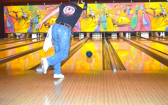 Mike Housley of                                            Machinists Lodge 1005 rolls      a strike at a labor fundraiser for the Muscular Dystrophy Association. Housely has participated in the event for the last four years.
