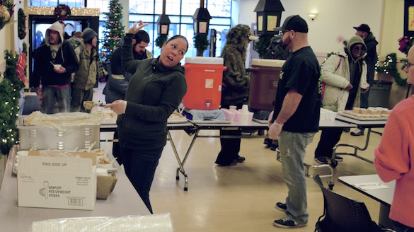 Apprentice Kennitha Wade dishes up food for Portland's homeless.
