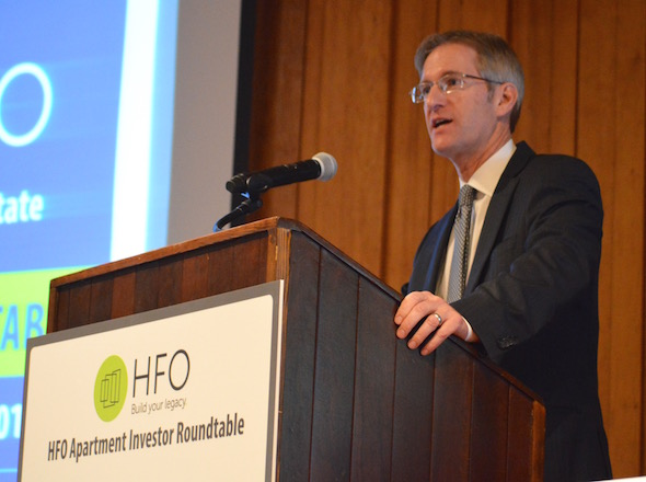 Ted Wheeler, at a Jan. 7, 2016, meeting for apartment investors.
