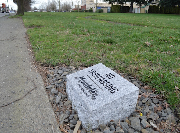 Seven of these strange tombstone-like engraved stones appeared last fall outside the Portland Nabisco bakery. Could they have something to do with preparing for picketers? Company spokesperson Laurie Guzzinati wouldn't say precisely, offering only that the signs were installed to delineate property boundaries, after a periodic safety and security review was conducted.