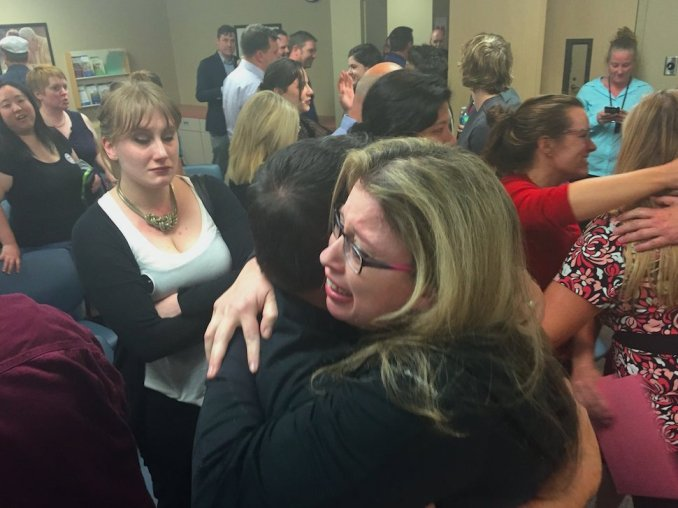 Tumult erupts as union vote results are announced June 2. (Photo by Alexander Reusing, courtesy of AFT)