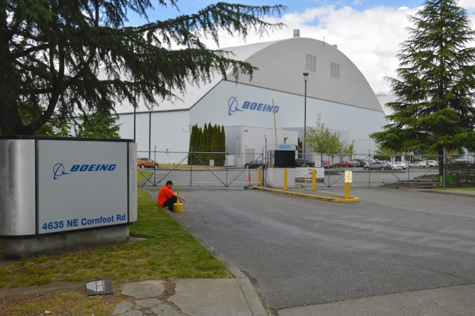 Boeing hangars at the Portland airport, where contracted workers paint Boeing planes.