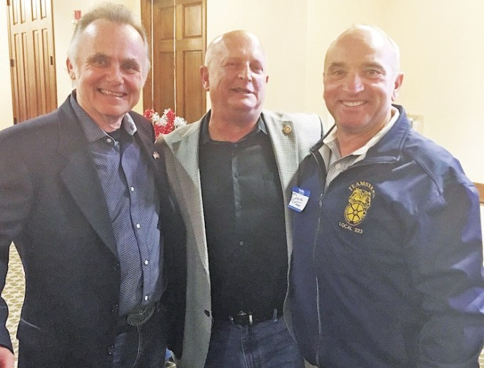Teamsters Local 223 rep Dave Tully (right) celebrates in Clackamas County with Jim Bernard (center) and Ken Humberston, who defeated anti-union incumbents John Ludlow and Tootie Smith.