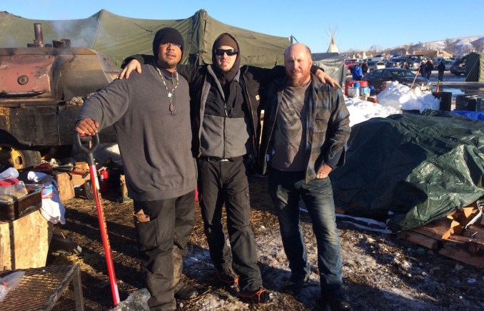 At the Standing Rock protest encampment: Isaiah Barnes of the Sioux nation, and Jamison Roberts and Steve Hunt of Vancouver ILWU Local 4.