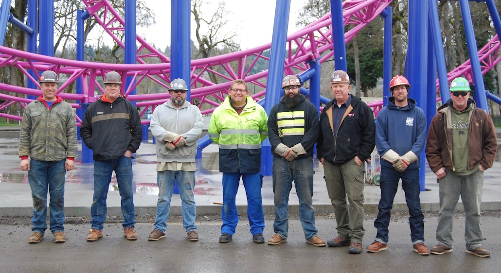 Union Iron Workers erect new roller coaster at Oaks Park in record