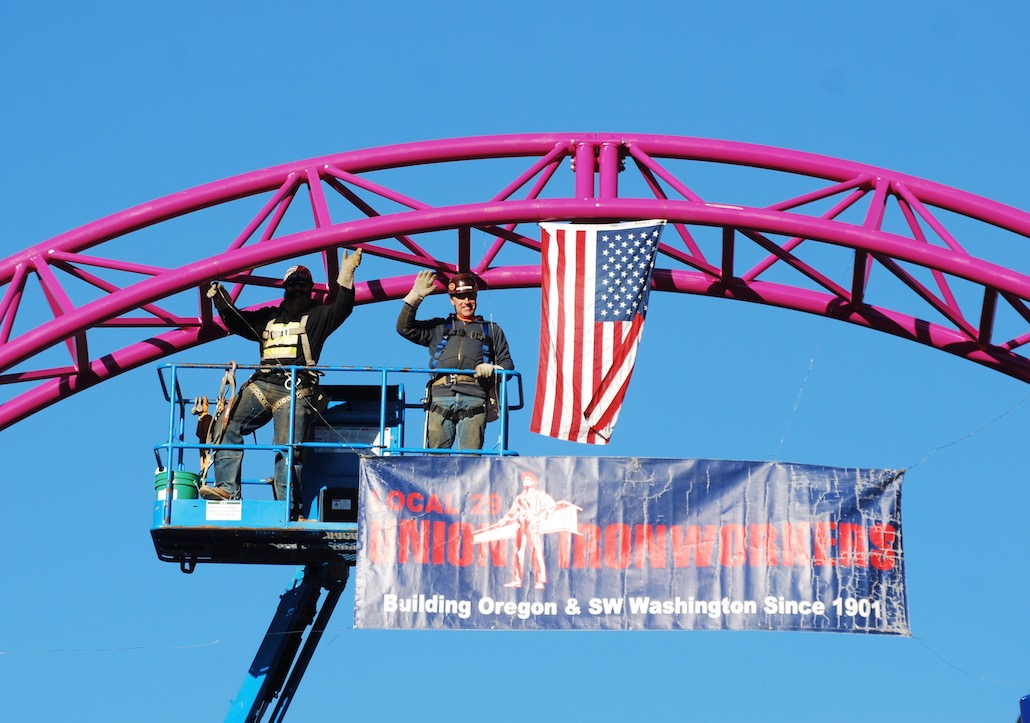 Union Iron Workers erect new roller coaster at Oaks Park in