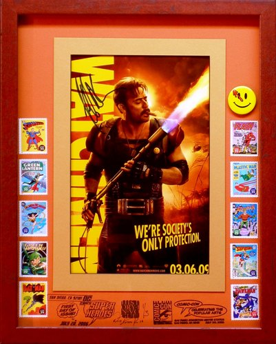 Signed by Jeffrey Dean Morgan, this 1 of 3 also features the smiley face pin released in 1986 available at $350