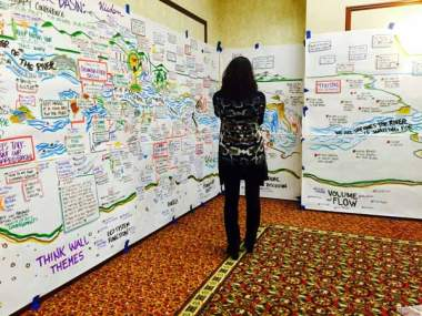 Woman reading the graphic wall