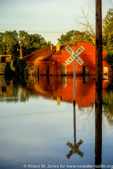 Missouri: Ste Genevieve, flooded streets, during Mississippi River flood of 1993.