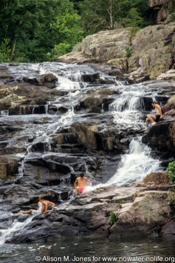 Missouri: Southeast of Eminence (Ozarks), Rocky Falls, water source for Current River, boys swimming,