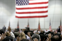 Citizens being sworn in at a courthouse