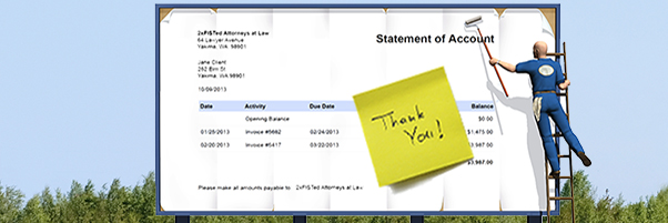 """A billboard showing a legal a bill with """"Thank you."""""""