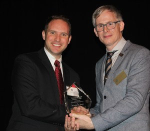 Hunter M. Abell, recipient of the 2015 Courageous Award, pictured with WSBA President Anthony Gipe.