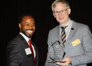 Outstanding Young Lawyer Award winner Vincent D. Humphrey II with WSBA President Anthony Gipe,