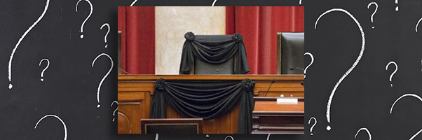 Justice Scalia's empty chair draped in black