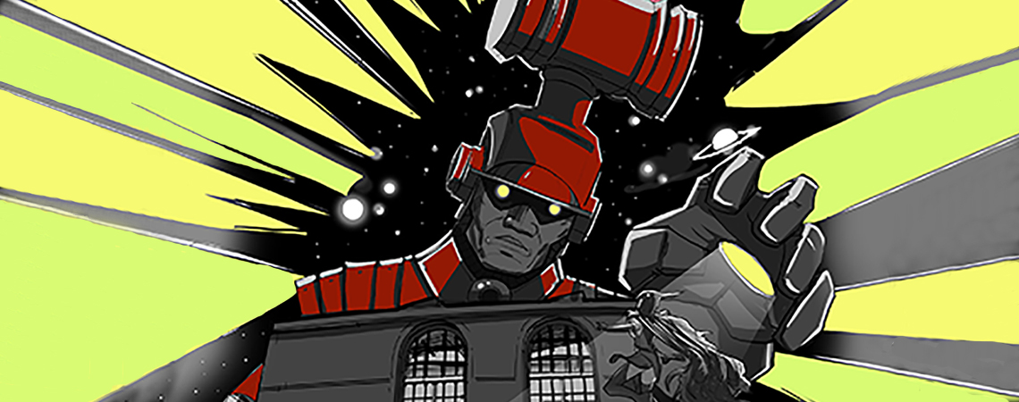 Comic book image of a giant robot with gavel helmet.