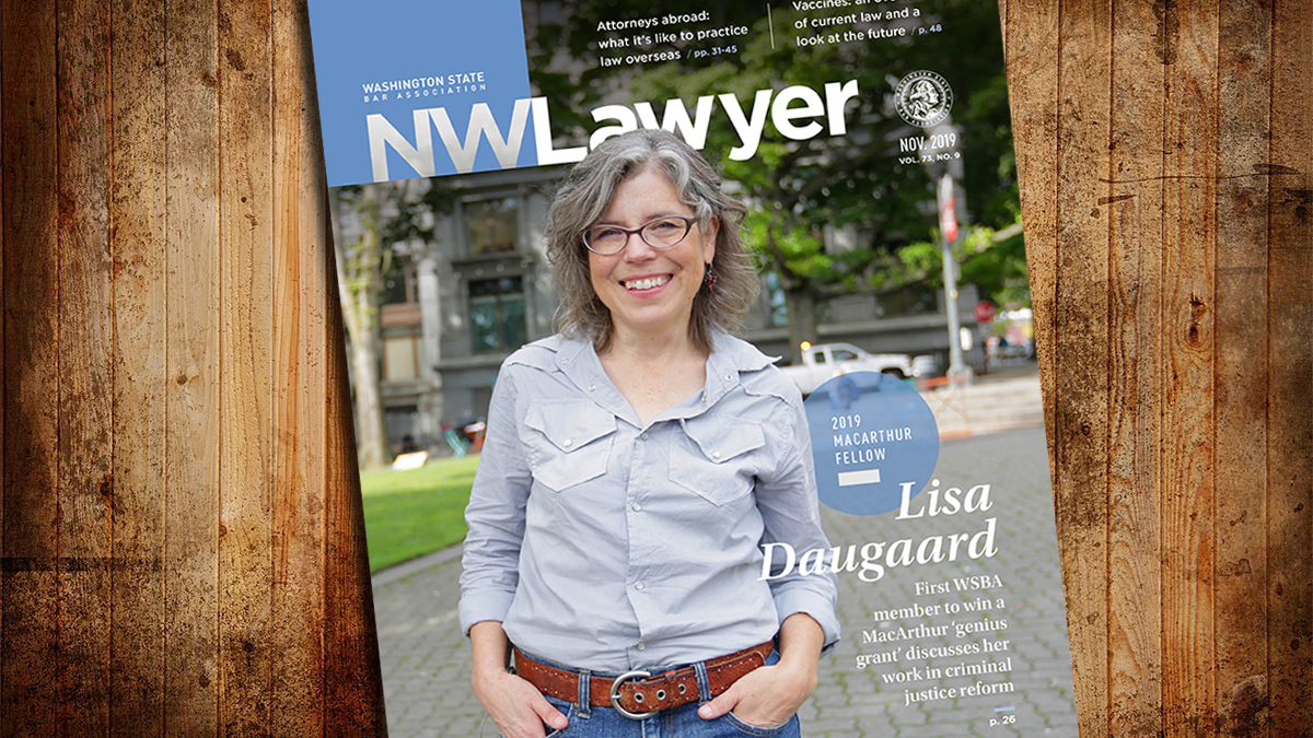 Cover of November 2019 NWLawyer with Lisa Daugaard