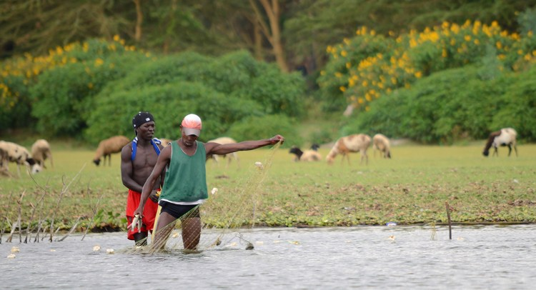Two fisherman with fishnet near a river in Jinja Uganda.