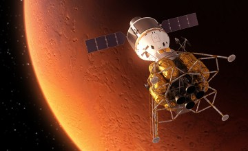 Interplanetary Space Station Orbiting Mars