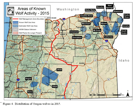 A MAP SHOWS WHERE OREGON'S WOLVES OCCUR. (ODFW)