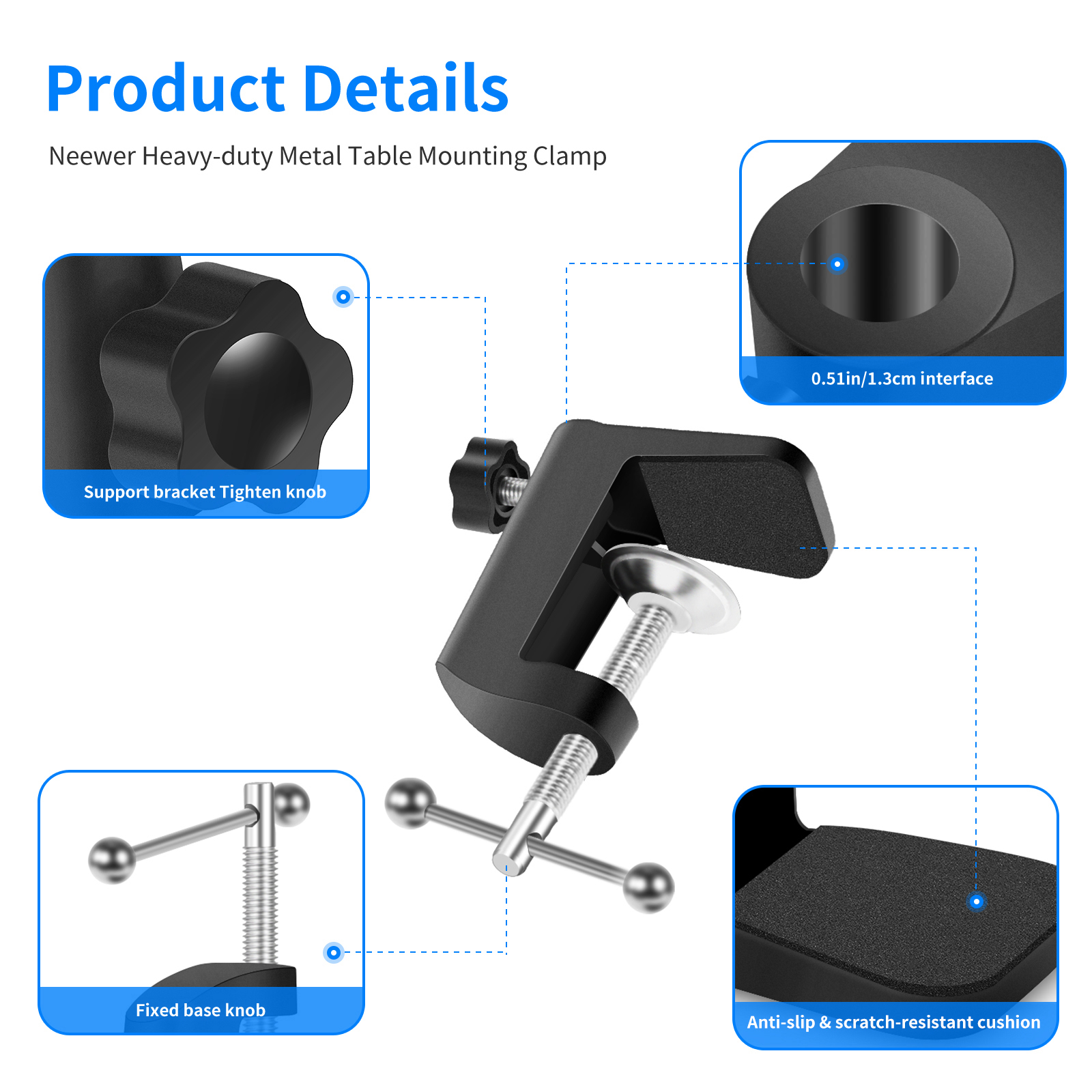 Neewer Table Mounting Clamp For Microphone Suspension Boom