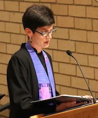 Rev. Terry Davis speaking at podium