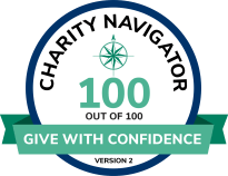 """Image of Charity Navigator accreditation. Text reads: """"Charity Navigator. 100 out of 100. Give with Confidence. Version 2."""""""