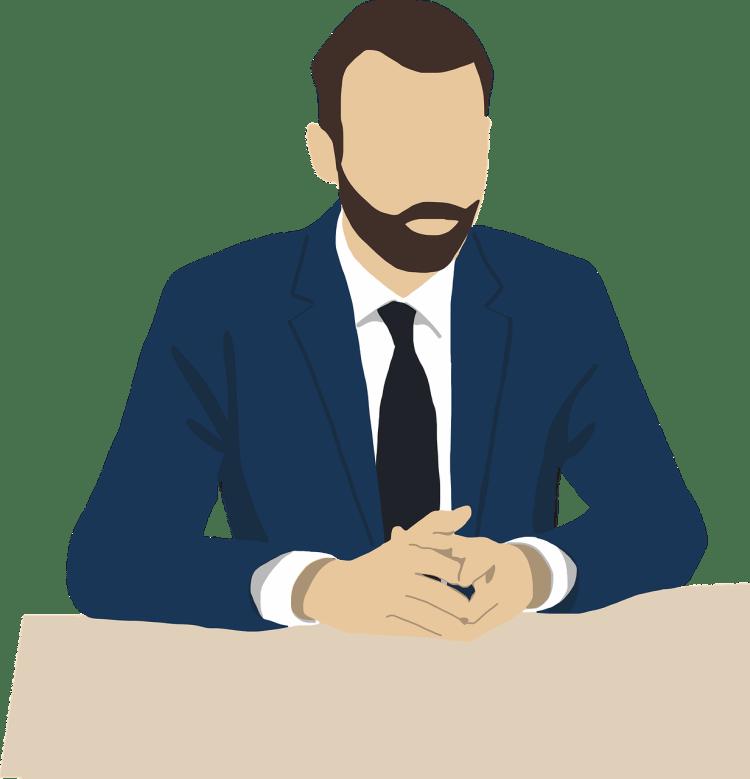 Illustratie man in kostuum - interview