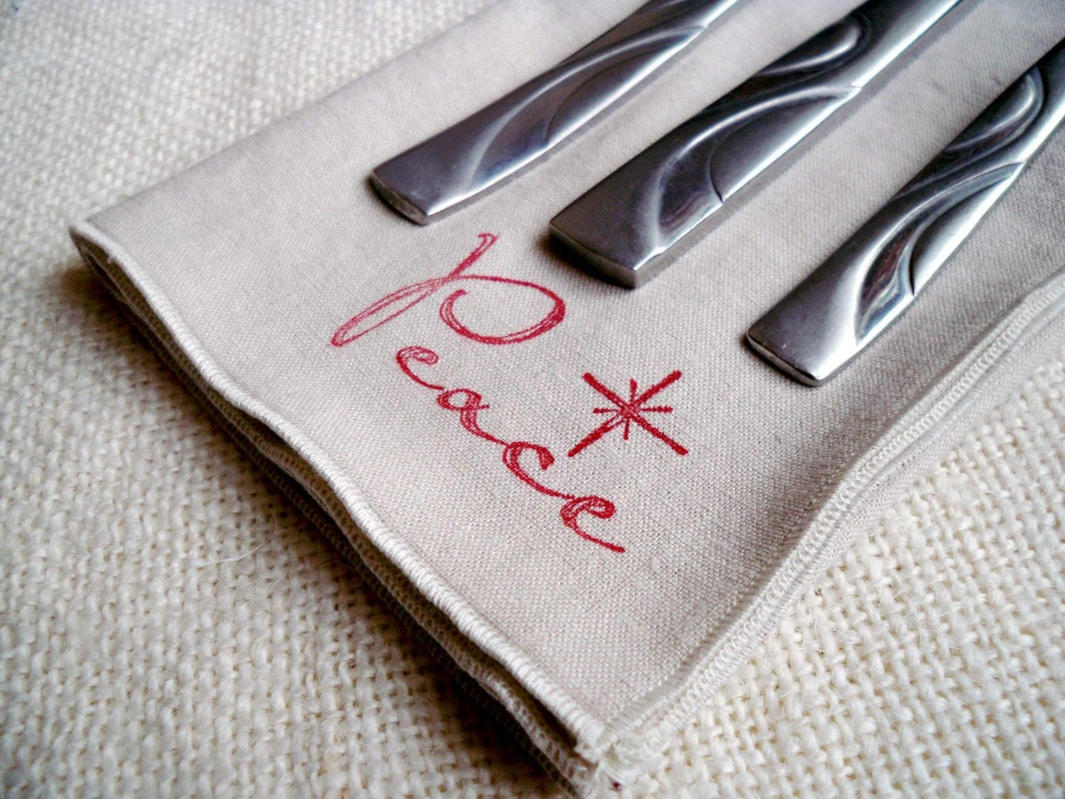 Holiday Linen Peace Napkins Eco Friendly