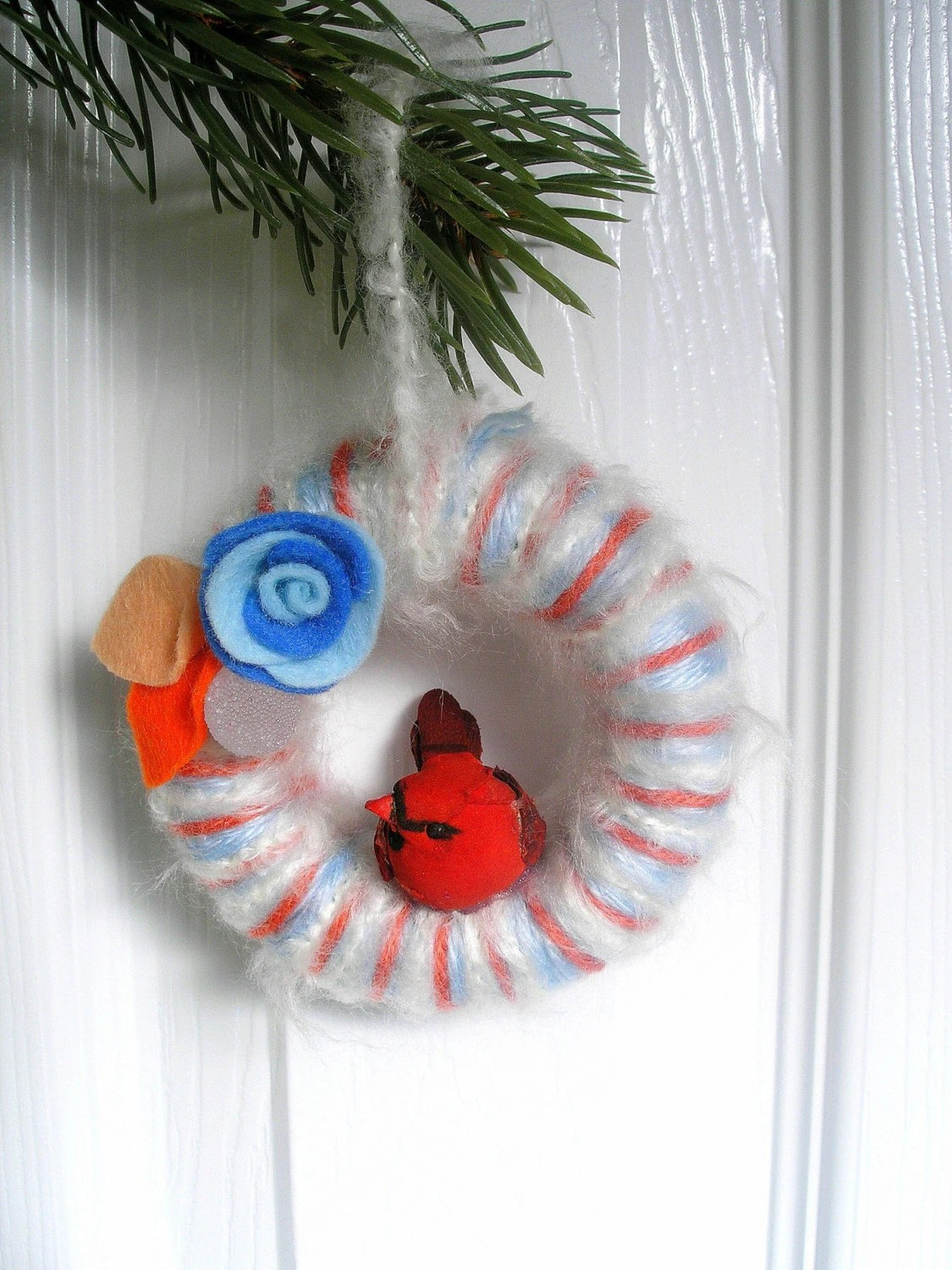 Powder Blue and Peach Yarn Wreath Ornament with Cardinal
