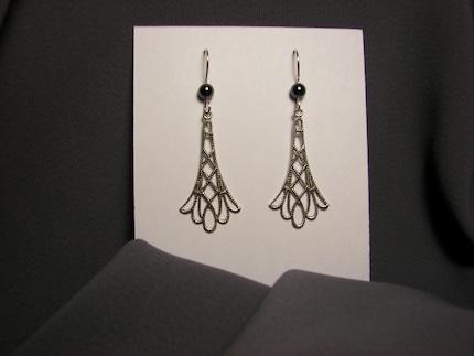 Filigree Hematite Silver Earrings