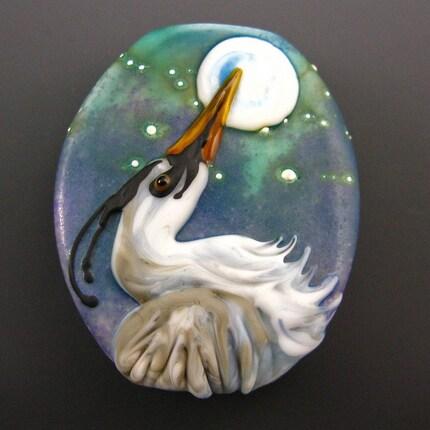 Heron's Moon lampwork bead