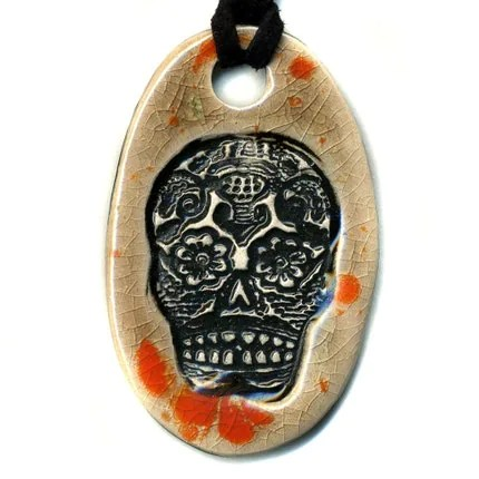 Day of the Dead or Sugar Skull Ceramic Necklace in Orange and Mocha