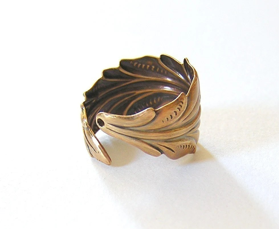 Steampunk Angel Feather Ring