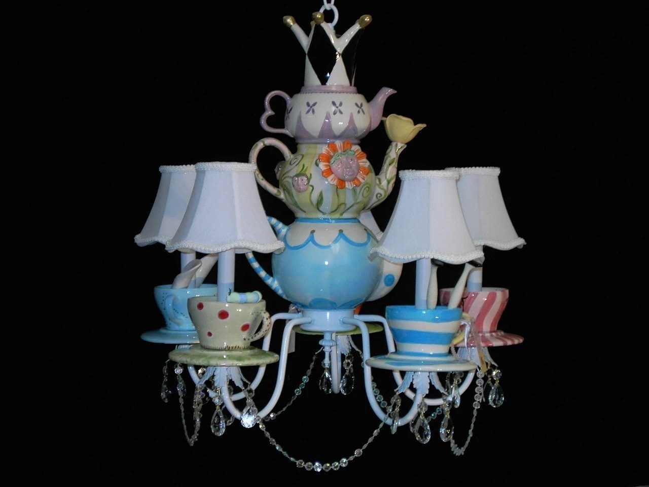 Whimsical Mad Hatter Tea Party Chandelier by whimsicalcollections