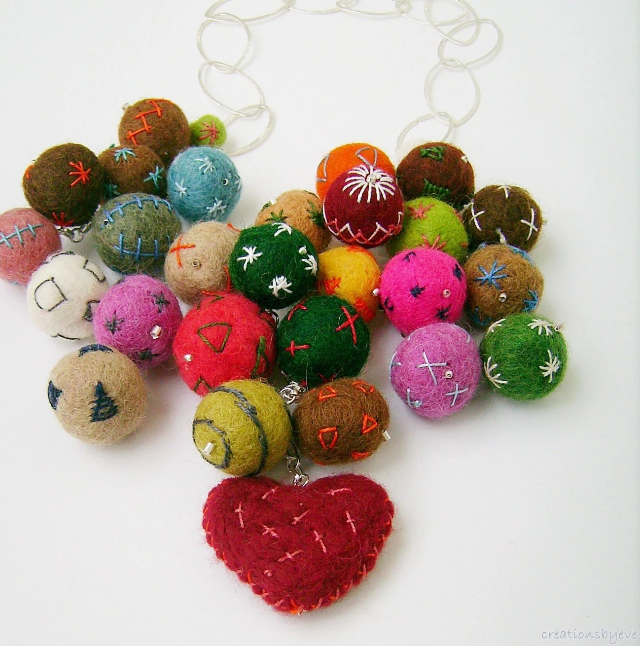 statement necklace with colorful felt beads