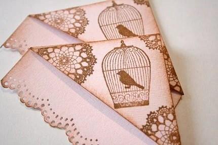 Doily & Birdcage Vintage Corner Bookmarks