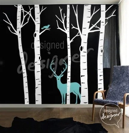 Winter Birch Trees with Deer and Bird (Large set) -- Removable Graphic Wall Decal