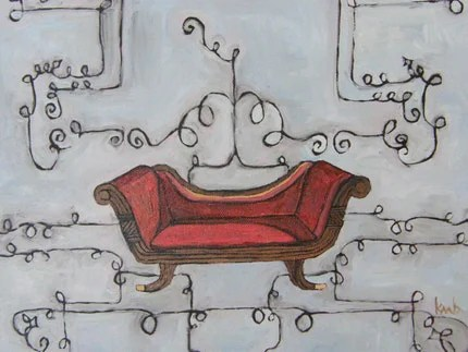 modern cleopatra's lounge chair an original oil
