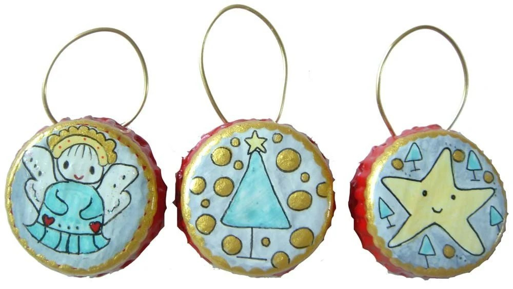 Top O the Christmas Tree Painted Bottle Cap Ornament Set