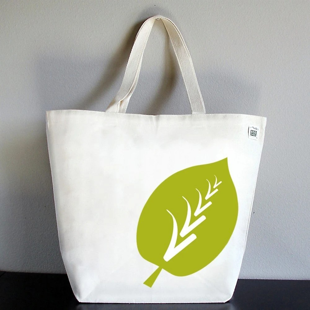 RECYCLED CLASSIC Tote - Big Leaf in Citron Green NEW