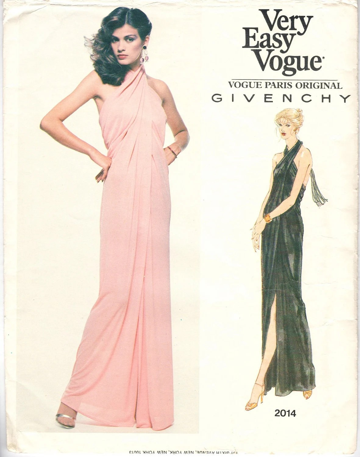 Late 1970s Givenchy pattern, Gia in a pink evening dress, Vogue 2014