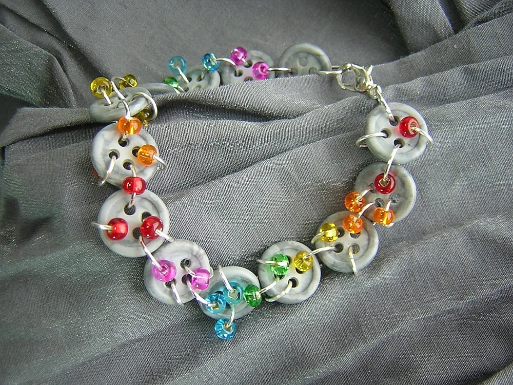 Rainbow and Button Rain Clouds Handmade Bracelet by Rewondered D225B-00014 - $29.95