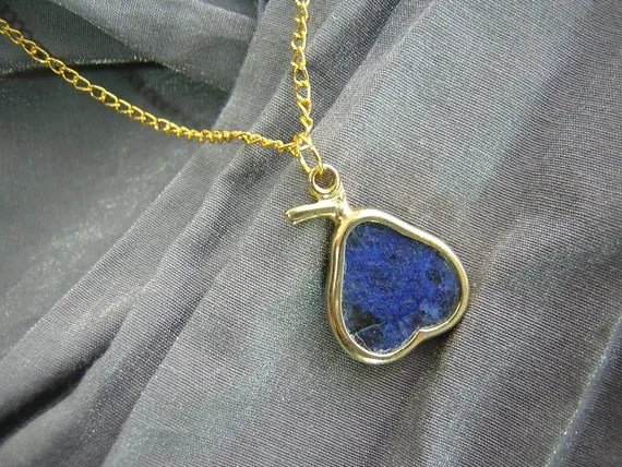 Blue Marble Gold-Framed Pear on Gold Chain Simple Charm Necklace by Rewondered