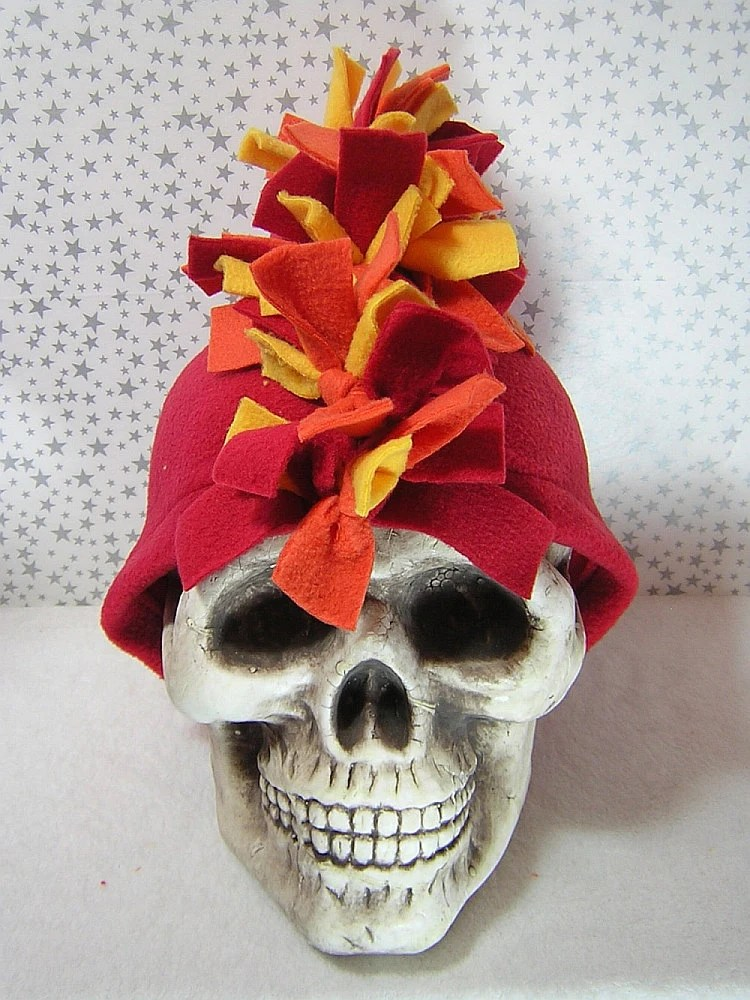 Fire or Three Color Mohawk Fleece Hat - Handmade by Rewondered D201H-00002 - $27.95